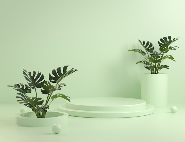 Manichino di gradini di podio verde e piante monstera 3d rendering