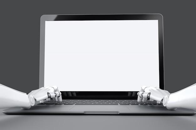 Manichino di un computer portatile con uno sfondo bianco e mani del robot che digitano sulla tastiera del computer portatile.