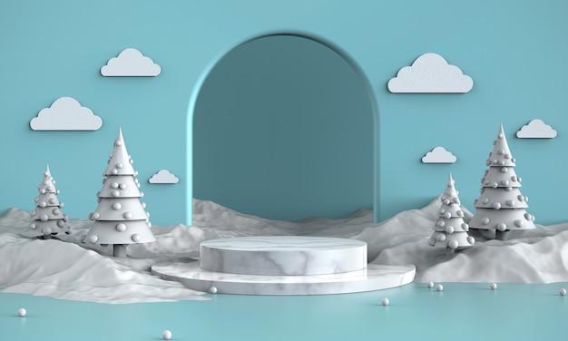Manifestazione bianca come la neve del prodotto di tema, promozione, fondo delle insegne, presente, illustrazione 3d.