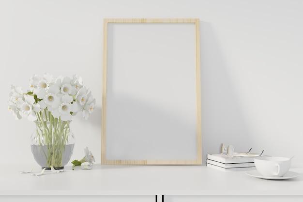 Manifesto del mockup con cornice in piedi sulla scrivania in salotto. rendering 3d. - illustrazione