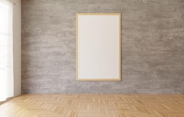 Manifesto e struttura bianchi che appendono sui precedenti del muro di cemento nella stanza