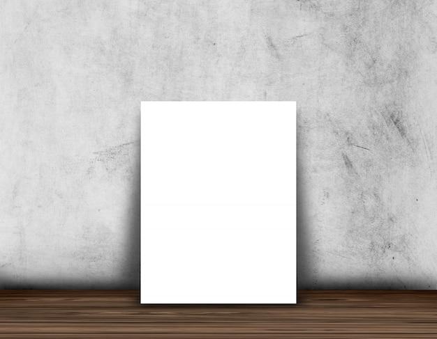 Manifesto in bianco 3d o cornice per foto su un pavimento di legno contro un muro di cemento