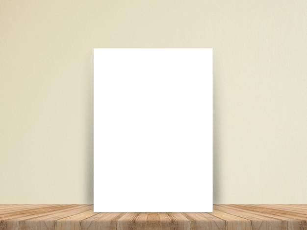 Manifesto in bianco del libro bianco al pavimento di legno della plancia e della parete di carta tropicali.