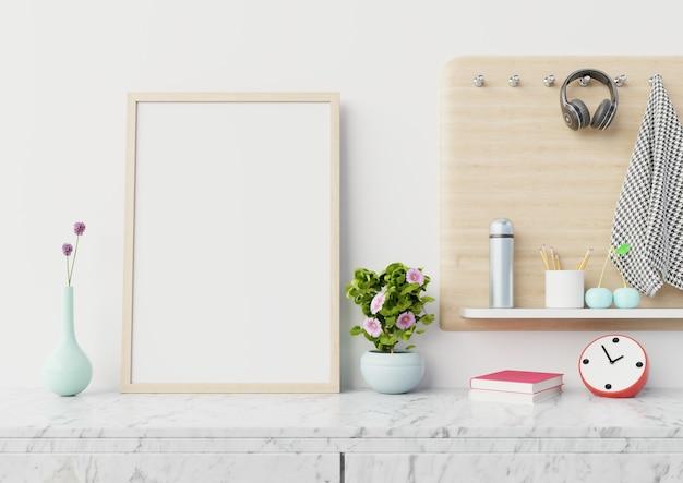 Manifesto in bianco interno domestico con il verticale sul gabinetto di marmo, rappresentazione 3d