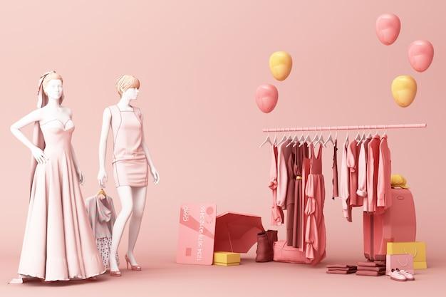 Mannequinson dei vestiti un gancio che circonda dalla borsa e puntello del mercato con la carta di credito sulla rappresentazione del pavimento 3d