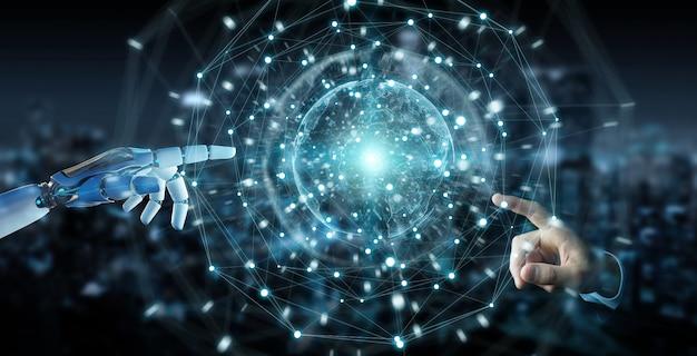 Mano bianca del robot facendo uso della rappresentazione digitale dell'interfaccia 3d dello schermo