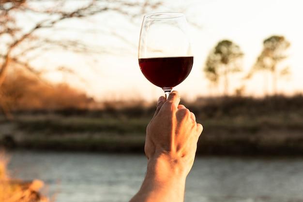 Mano che regge un bicchiere di vino rosso