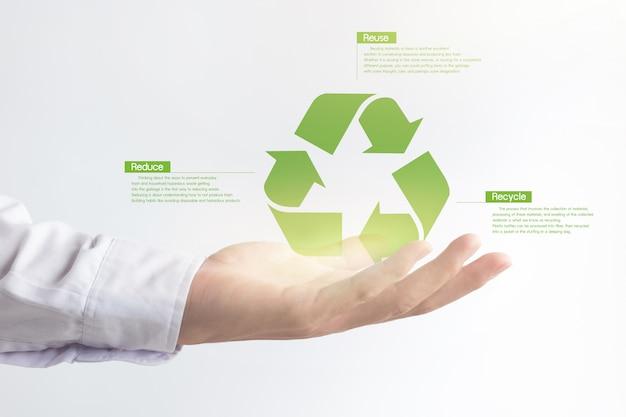 Mano che tiene icona di riciclo effetto virtuale, soluzione di riscaldamento globale.