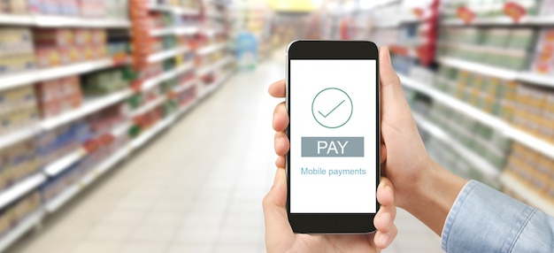 Mano che tiene il dispositivo smartphone e lo schermo commovente, pagamento mobile con app portafoglio