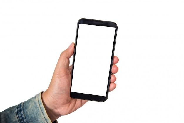 Mano che tiene il telefono intelligente isolato su sfondo bianco