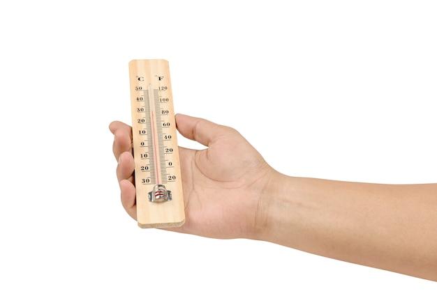 Mano che tiene il termometro in legno