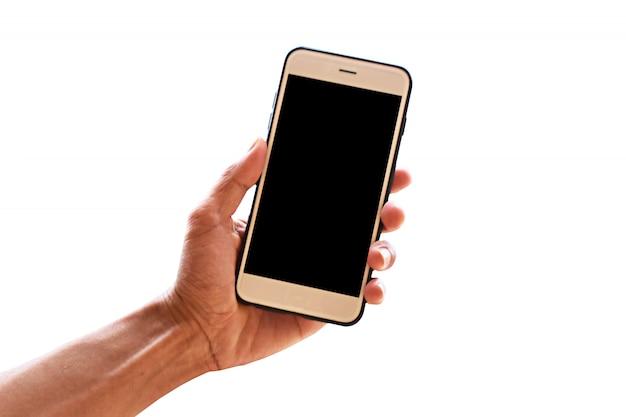 Mano che tiene smartphone o telefono mobile