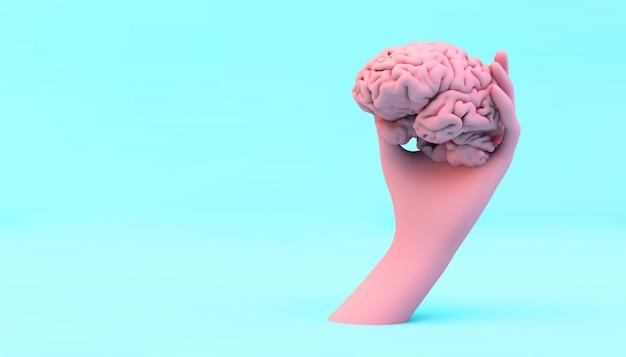 Mano che tiene un cervello