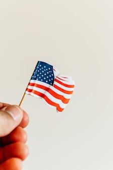 Mano che tiene una bandiera americana