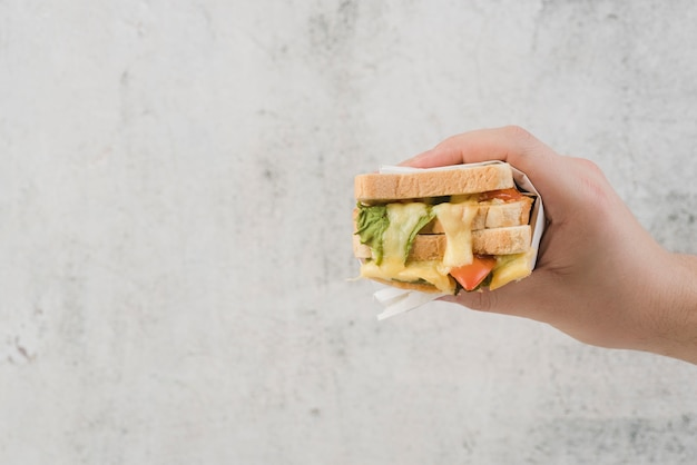 Mano copia-spazio con sandwich