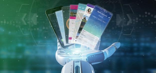Mano del cyborg che tiene il modello di applicazione mobile su una rappresentazione dello smartphone 3d