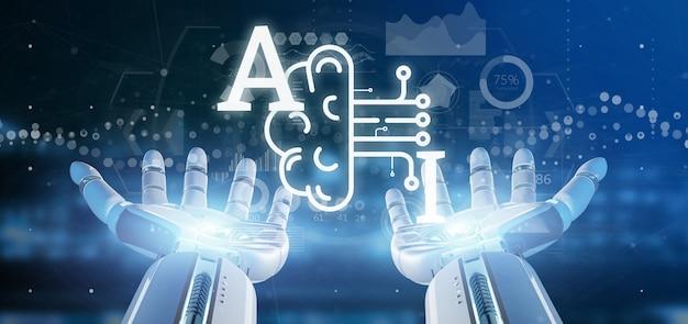 Mano del cyborg che tiene l'icona di intelligenza artificiale con la metà del cervello e la rappresentazione del mezzo circuito 3d