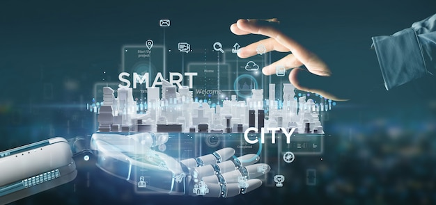 Mano del cyborg che tiene l'interfaccia utente astuta della città con l'icona, le statistiche e la rappresentazione di dati 3d