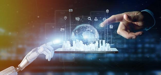 Mano del cyborg che tiene l'interfaccia utente smart city con icone, statistiche e dati
