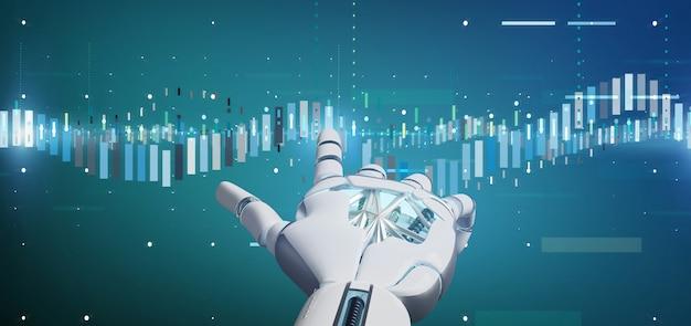 Mano del cyborg che tiene le informazioni di dati commerciali di una borsa valori di affari