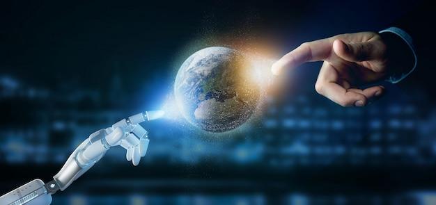 Mano del cyborg che tiene le particelle di un globo di terra