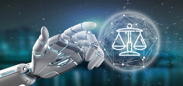 Mano del cyborg che tiene nuvola di giustizia e legge bolla icona con i dati