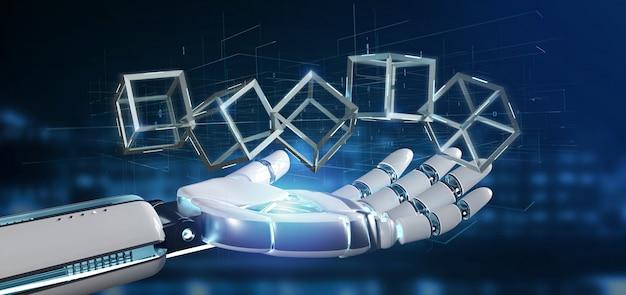 Mano del cyborg che tiene un cubo di blockchain