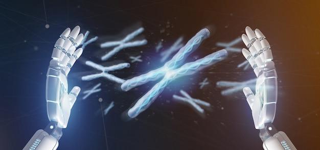 Mano del cyborg che tiene un gruppo di cromosoma con l'interno del dna isolato sulla a