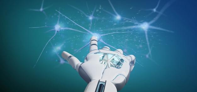 Mano del cyborg che tiene un gruppo di neuroni