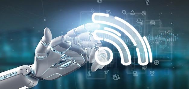 Mano del cyborg che tiene un'icona di wifi con i dati tutt'intorno