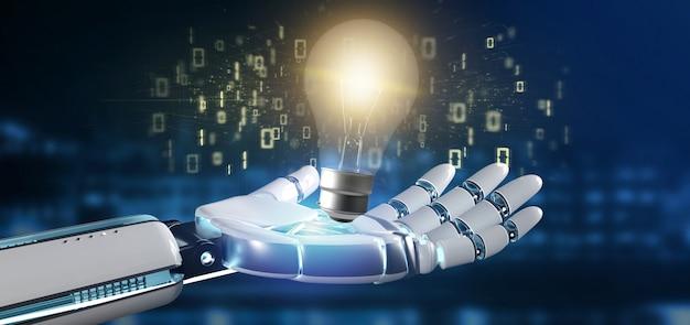 Mano del cyborg che tiene un'idea della lampadina