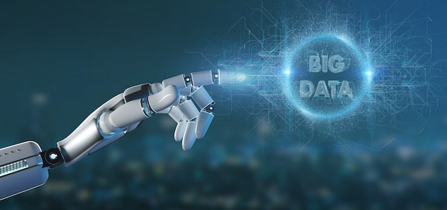 Mano del cyborg che tiene una grande rappresentazione di titolo 3d di dati