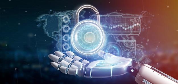 Mano del cyborg che tiene una rappresentazione dell'interfaccia 3d di tecnologia di sicurezza del lucchetto