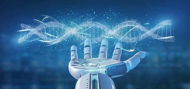 Mano del cyborg che tiene una rappresentazione della filiale 3d del dna