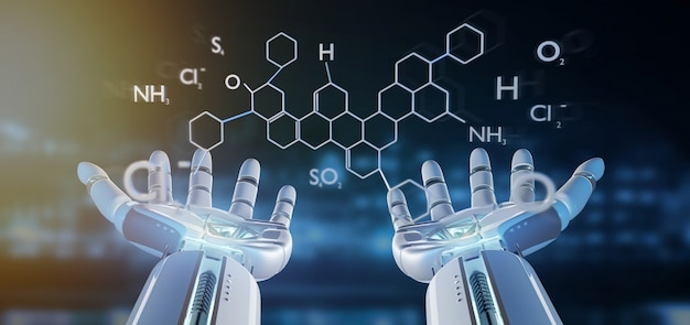 Mano del cyborg che tiene una rappresentazione della struttura 3d della molecola