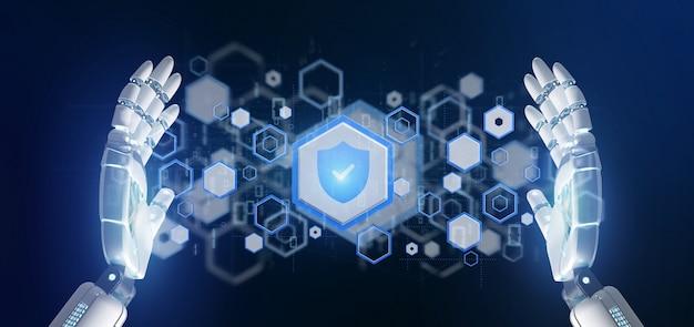 Mano del cyborg che tiene una rappresentazione di concetto 3d di sicurezza di web dello schermo
