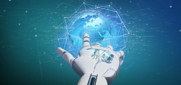 Mano del cyborg che tiene una rete connessa sopra un concetto del globo della terra su un'interfaccia futuristica