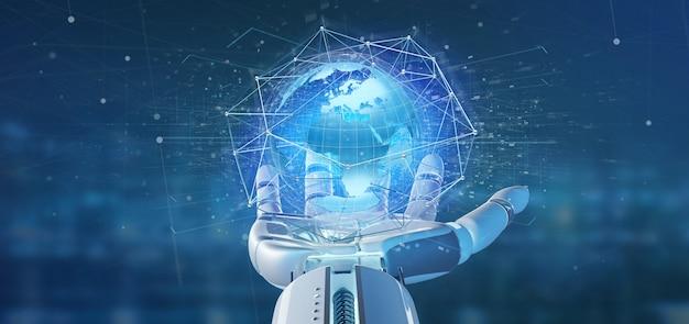 Mano del cyborg che tiene una rete connessa sopra un globo della terra