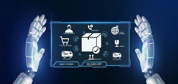 Mano del cyborg che tiene uno schermo di applicazione di consegna logistica