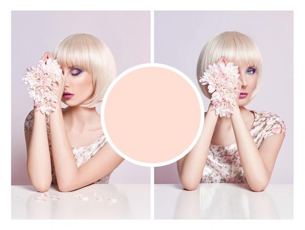Mano del fiore della donna di estate del collage di pubblicità di arte