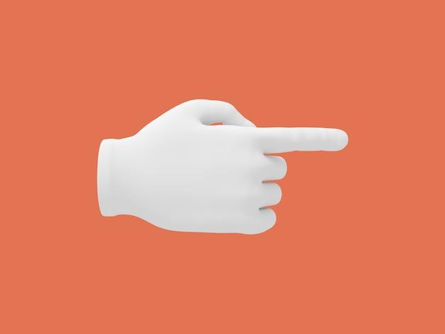 Mano del fumetto con il dito indice. illustrazione sul fondo di colore rosso