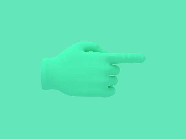 Mano del fumetto con l'illustrazione del dito indice su verde, rappresentazione 3d