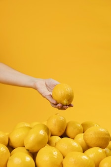 Mano del primo piano che tiene limone organico