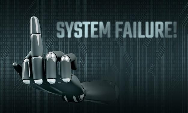 Mano del robot che mostra il dito medio