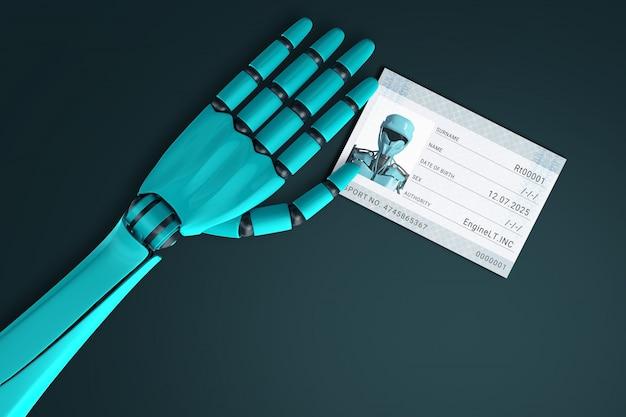 Mano del robot che presenta il passaporto