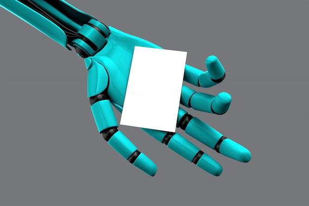 Mano del robot che tiene un biglietto da visita vuoto