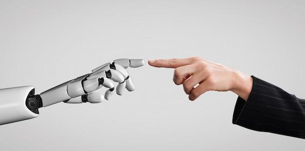 Mano del robot che tocca la mano umana