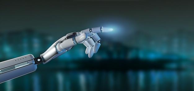 Mano del robot del cyborg su una rappresentazione del fondo 3d della città