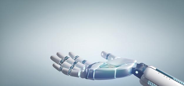 Mano del robot del cyborg su una rappresentazione uniforme del fondo 3d