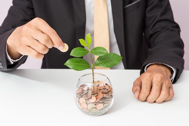 Mano dell'uomo d'affari che mette le monete e la pianta sul vetro, concetto di soldi di risparmio per contabilità di finanza, affare crescente